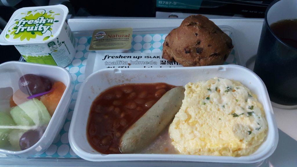 ニュージーランド航空 日本直行便 機内食 洋食朝食