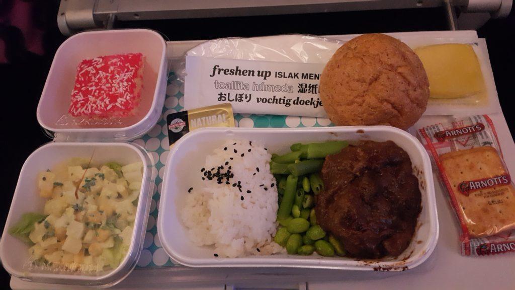 ニュージーランド航空 日本直行便 機内食 和食牛肉