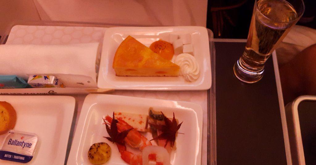 ニュージーランド航空 プレミアムエコノミー 成田オークランド間 機内食夕食