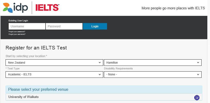 IELTS 試験場 選択画面