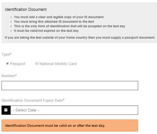 IELTS 身分証明書の詳細