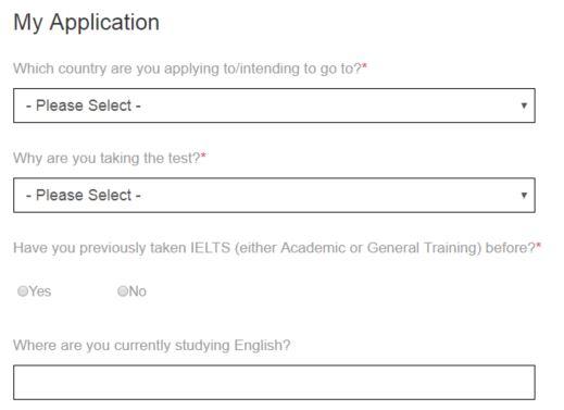 IELTS 申し込み画面