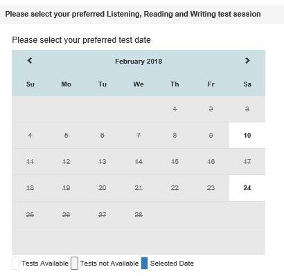 IELTS 受験可能日 カレンダー