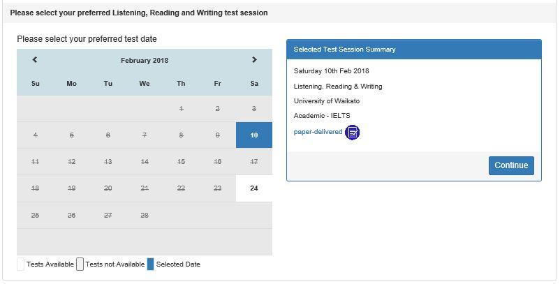 IELTS 試験日 選択画面