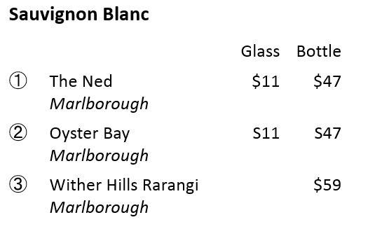 ニュージーランドワインメニュー例 ソーヴィ二ヨン・ブラン