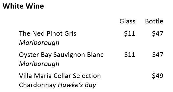 ニュージーランドワインメニュー例 白ワイン