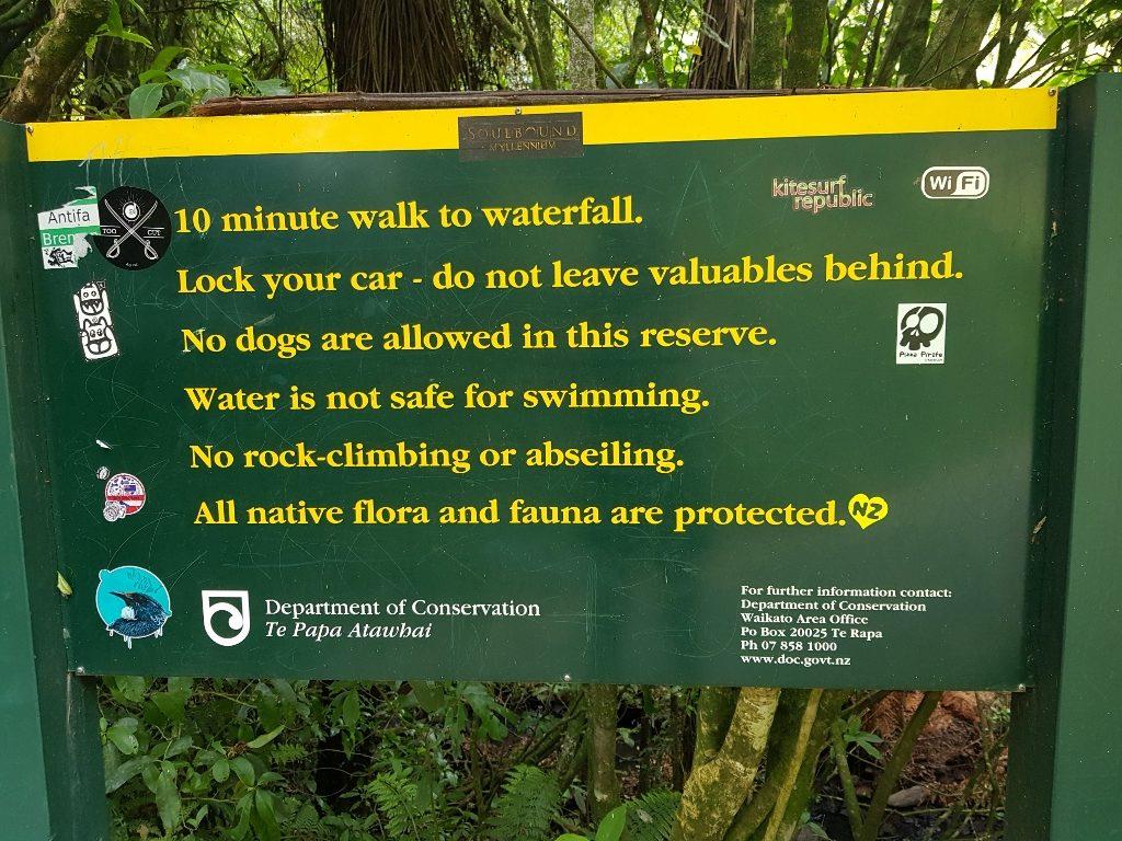 ニュージーランド ワイカト ラグラン 花嫁のベール滝 入口情報