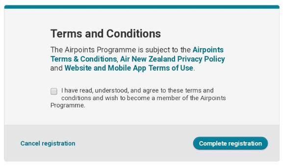 ニュージーランド航空 エアポインツメンバー登録画面