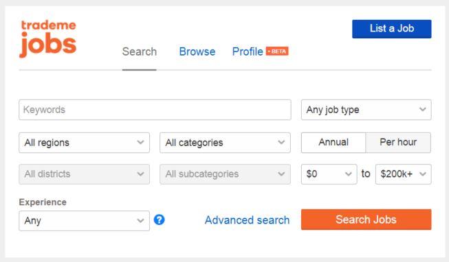trademe jobs 検索画面