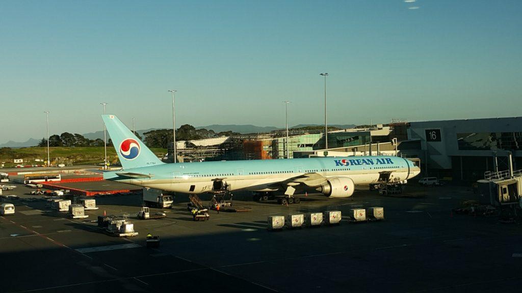 大韓航空の飛行機でニュージーランドへ来る